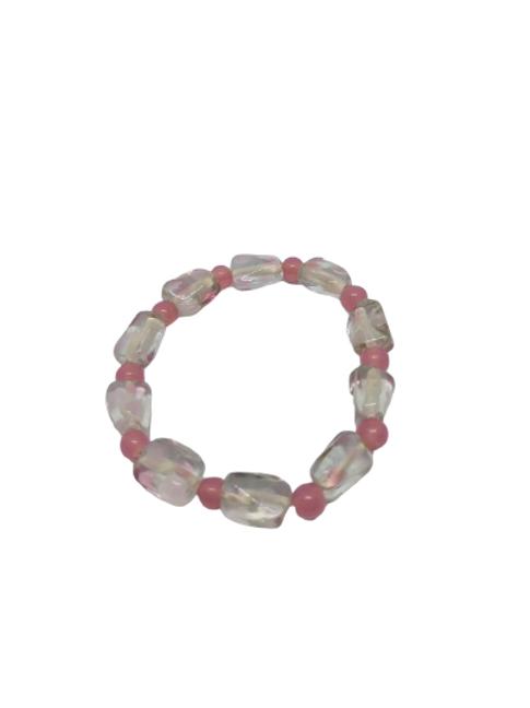 Pink glass beaded stretch bracelet