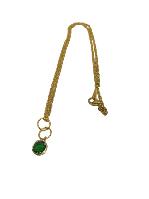 Gold plated green or brown circle chain/necklace