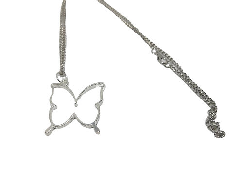 Silver plated butterfly outline necklace/chain