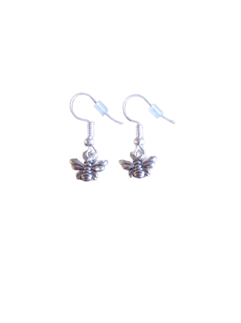 silver plated/sterling silver bee earrings