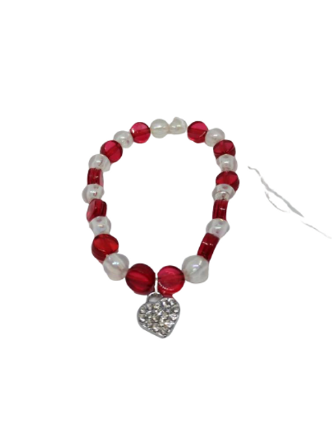 Red charm stretchy bead bracelet perfect for Valentine's day