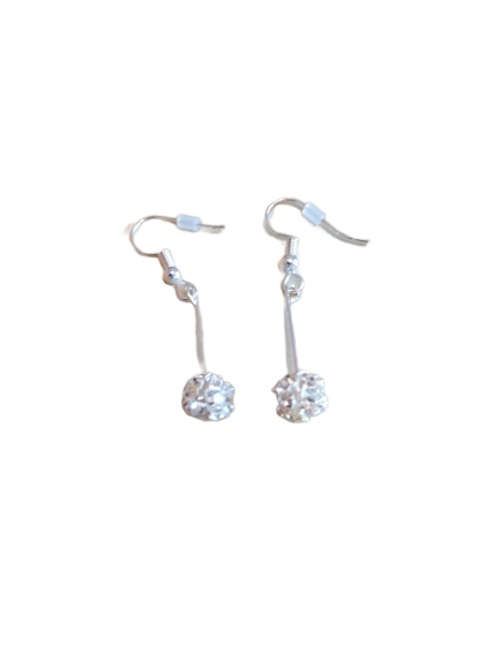 Silver plated/sterling silver diamante sparkle ball earrings