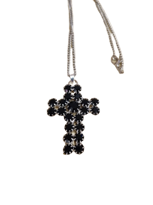 Silver plated black gothic cross pendant/necklace