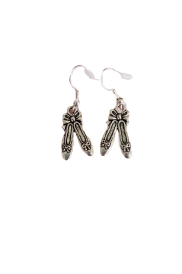 Sterling silver/silver plated Ballet slipper drop earrings