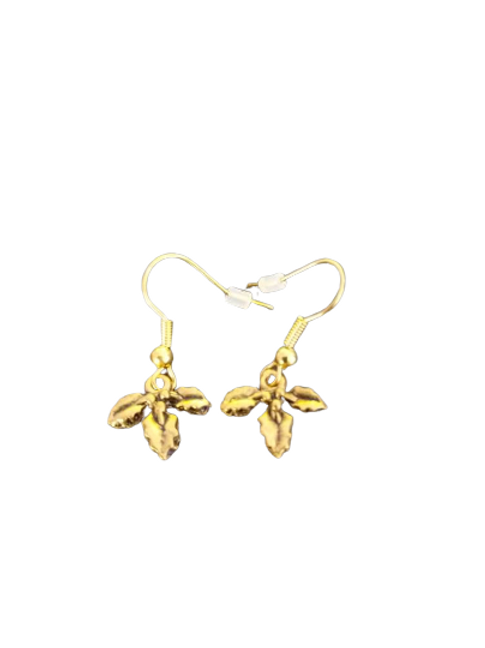 Gold plated Christmas earrings such as stockings, holly or presents
