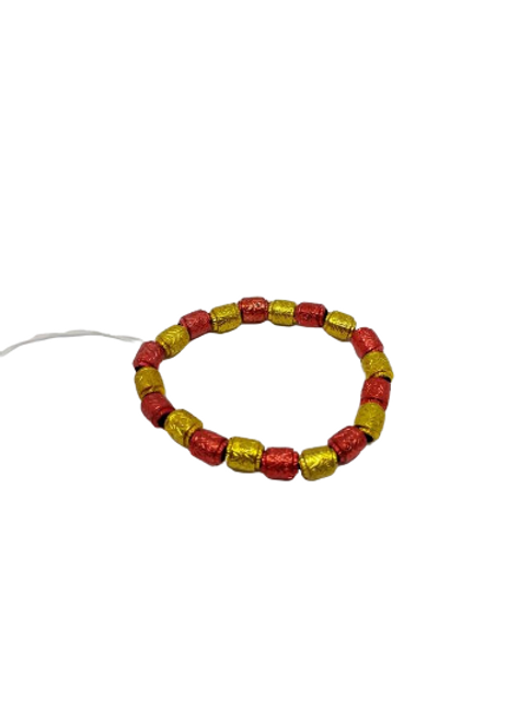 Red and gold plastic bead stretch bracelet