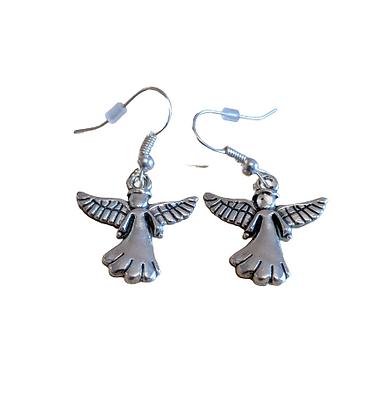 Sterling silver/silver plated angel  drop earrings