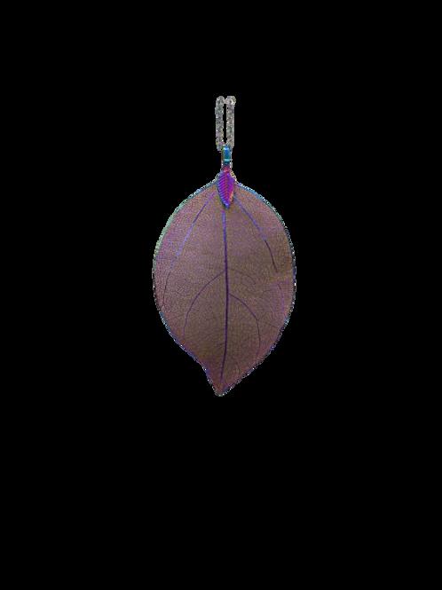 rainbow leaf chain/rainbow plated necklace/autumnal pendant