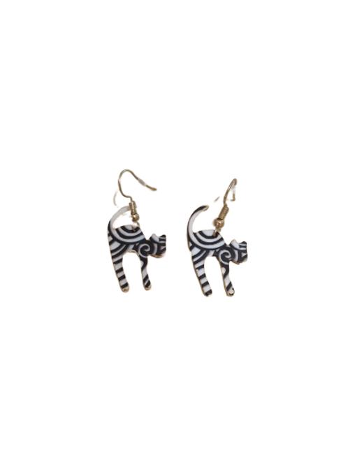 Gold plated monochome cat drop earrings