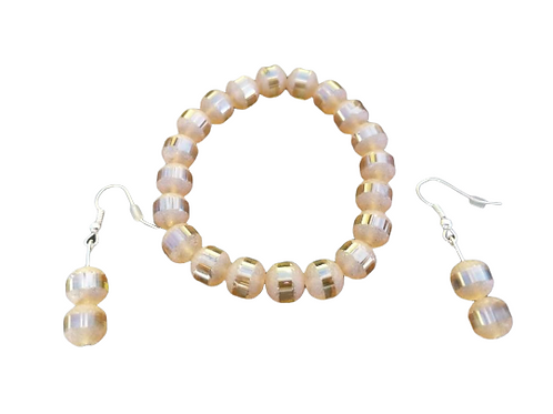 Peach banded stretch bead bracelet and earring set
