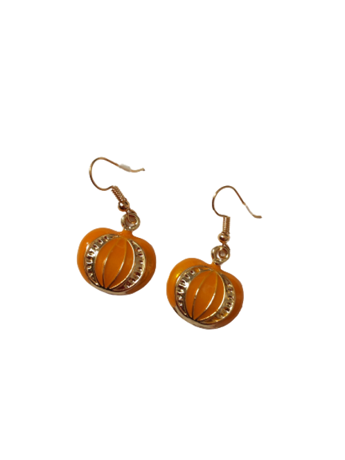 Gold plated orange and gold halloween pumpkin drop earrings