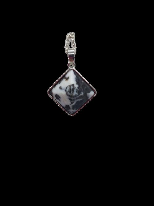 Silver plated monochrome chain/Zebra Jasper/Pyramid necklace