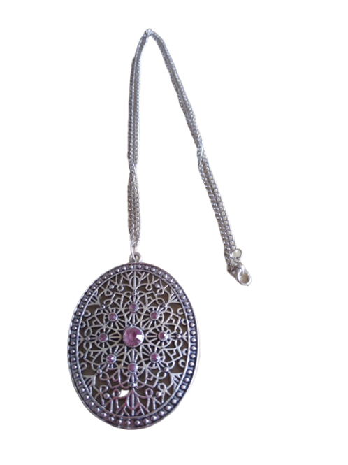 silver plated pink stoned oval large statement pendant/necklace