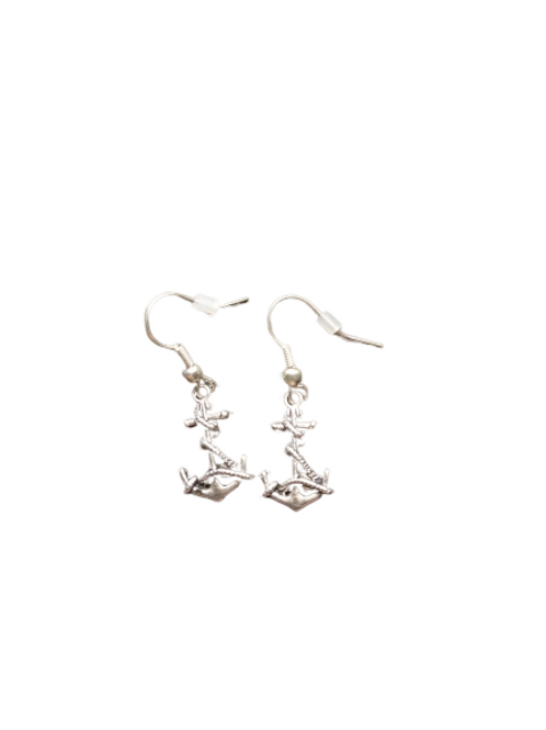 Sterling silver/silver plated anchor earrings