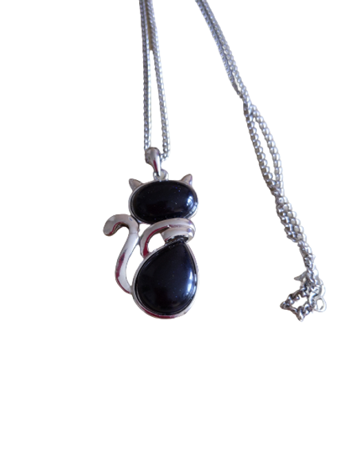 Cat pendant/goldstone pendant/blue goldstone pendant/cat necklace/dark pendant/