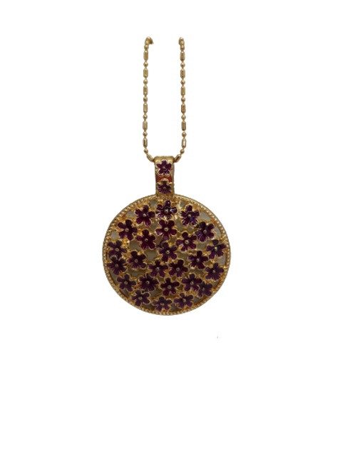 gold plated pendant, round, circle, purple flowers