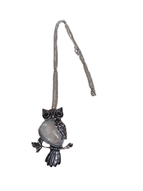 silver plated owl clear quartz pendant