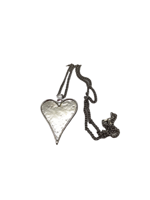 silver plated heart pendant/love heart necklace/silver heart/large pendant