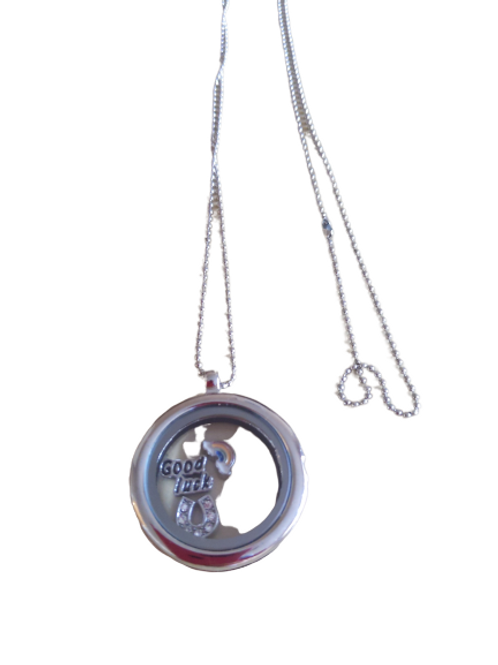 Silver plated floating locket pendant with rainbow/good luck/horseshoe