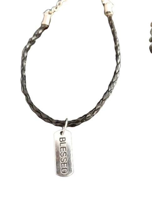 Black woven positivity/quote charm bracelets