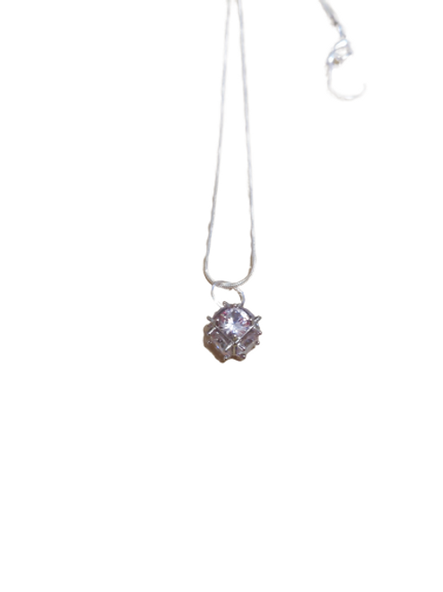 Silver plated diamante cube chain