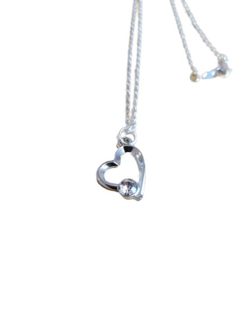 Silver plated diamanté heart chain/necklace/pendant