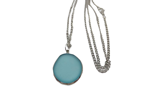 Silver plated faux seaglass blue statement necklace/chain