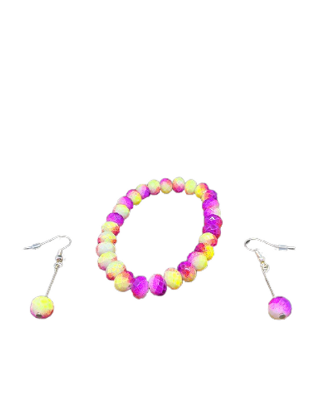 Neon purple and yellow beaded stretch bracelet and earring jewellery set