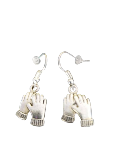Silver plated/sterling silver glove drop earrings