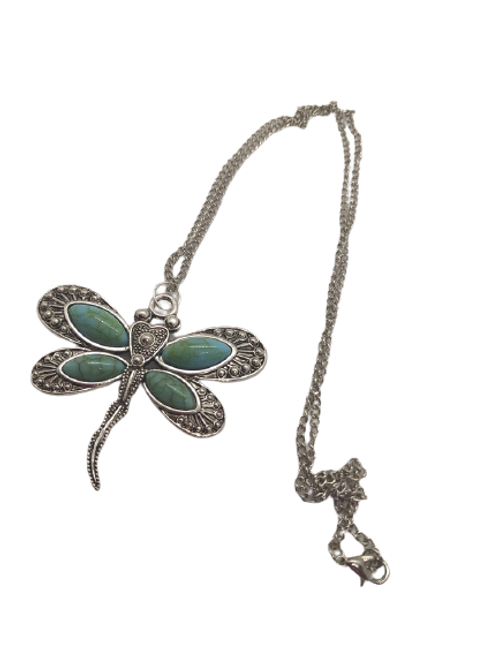 silver plated dragonfly/howlite dragonfly/dyed howlite/crystal jewellery/