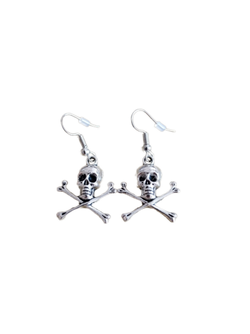 Sterling silver/silver plated skull and crossbone earrings
