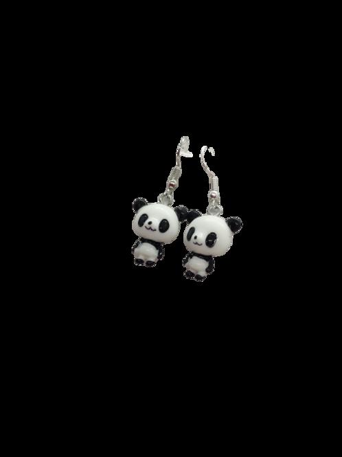 panda earrings/silver plated/sterling silver/monochrome/animal drops