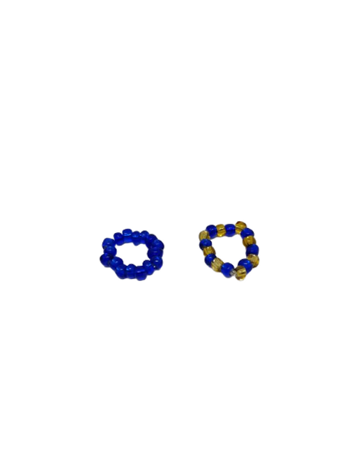 Stretchy beaded rings in blue, blue and yellow and brown