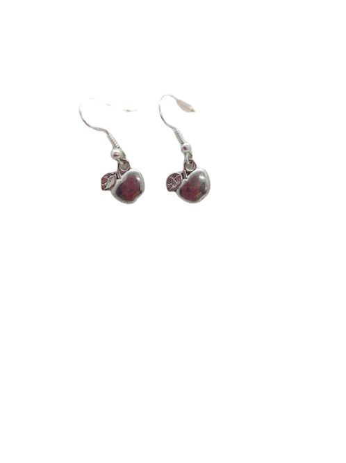 silver apple earrings/fruit/sterling silver food/quirky/food jewellery