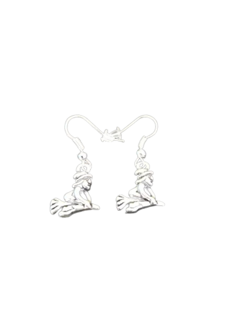 silver plated/sterling witch halloween drop earrings
