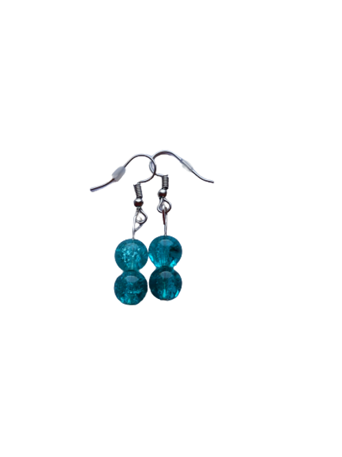 Silver plated/sterling turquoise crackle bead earrings