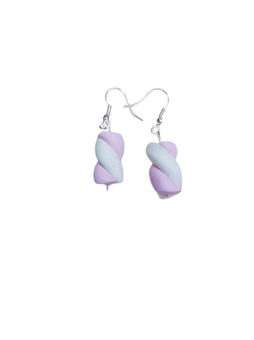 Silver plated/sterling silver pink and white sweetie drop earrings