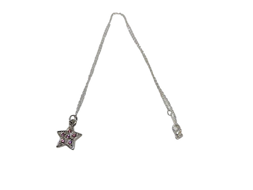 Silver plated diamante pink star necklace/chain