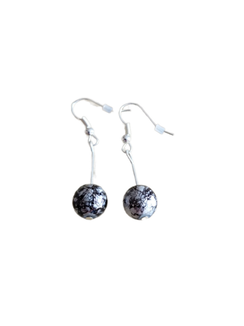 sterling silver/silver plated black and silver beaded earrings