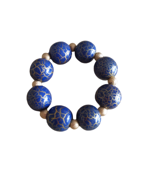 Black and gold/blue and gold chunky beaded wooden/textured stretch bracelet