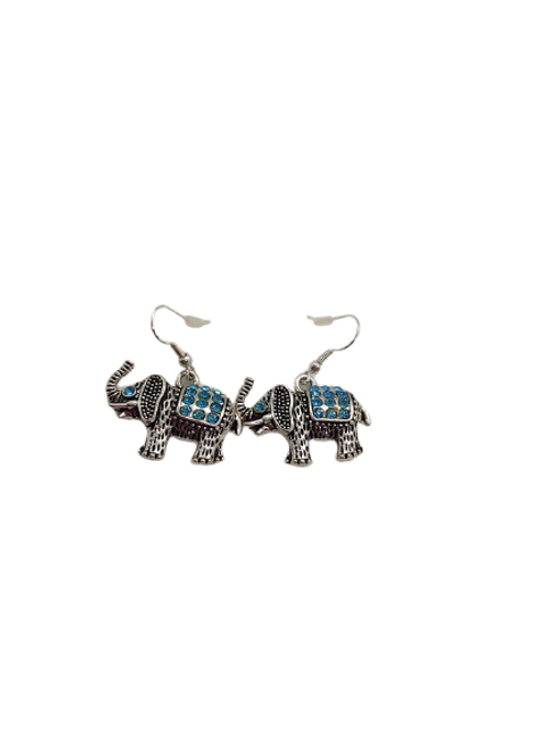 Turquoise elephant earrings/silver plated drops/sparkly/animals