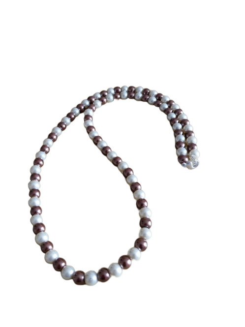 Brown and cream beaded earring and necklace jewellery set