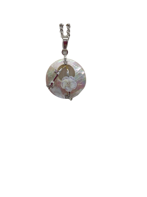 Mother of Pearl chain, silver plated necklace, flower pendant, white round chain