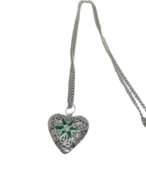 Silver plated green heart or pink heart necklace/chain