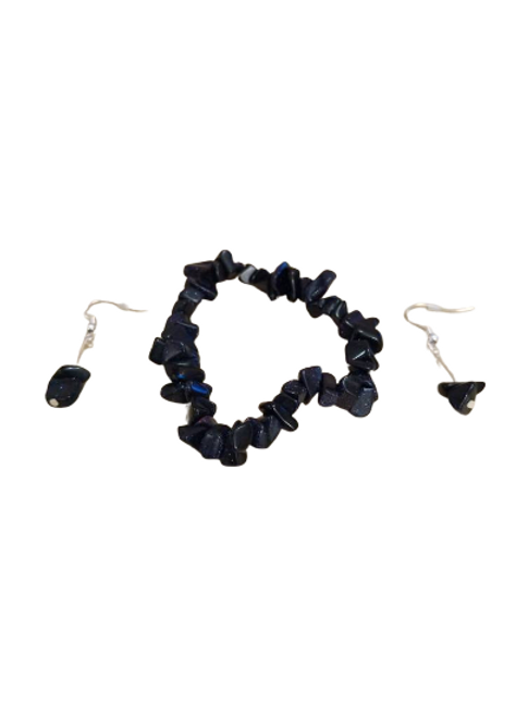 Black Onyx and Blue Goldstone bracelet and earring jewellery set