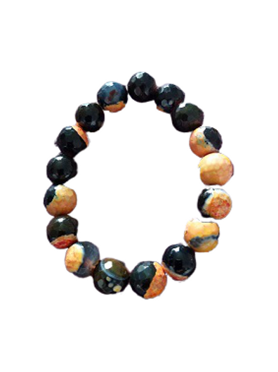 Fire Agate gemstone stretch bead bracelet