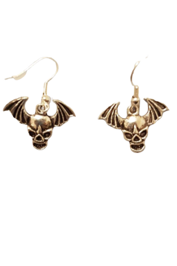Silver plated/sterling silver skull wings drop earrings