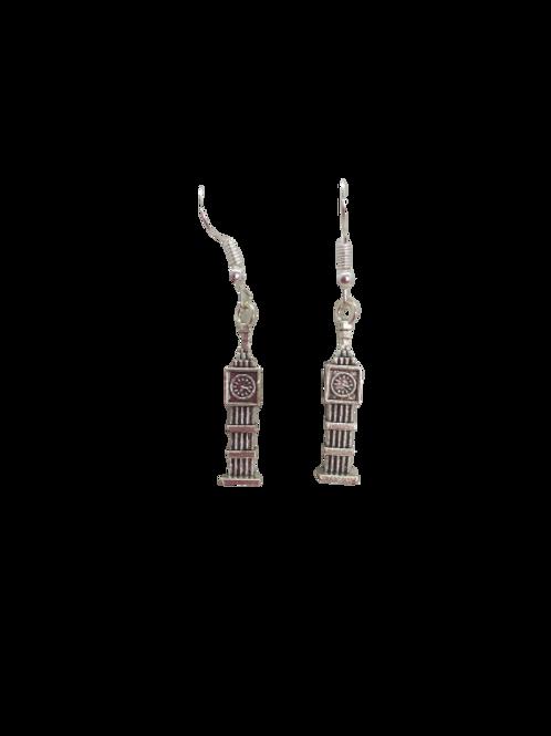 silver plated tall clock earrings, sterling silver, London, landmark earrings
