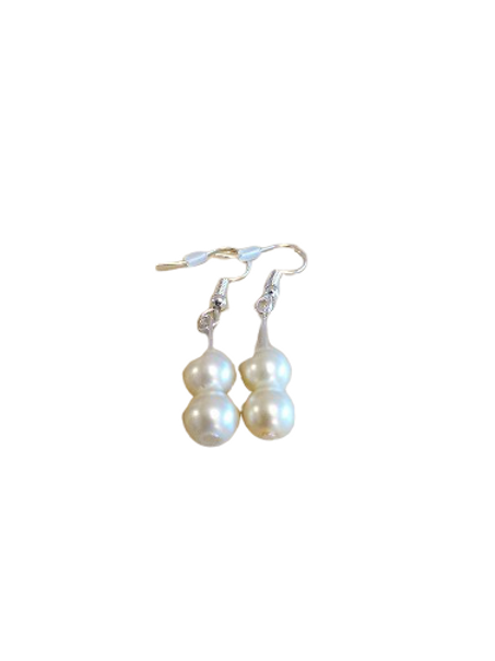 Silver plated/sterling silver cream bridal earrings