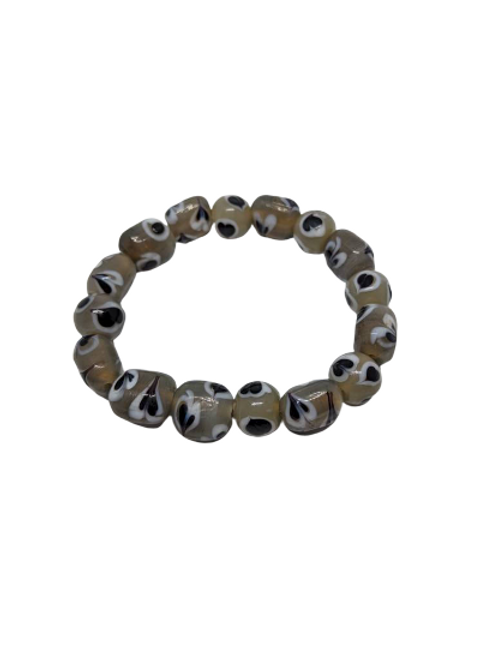 Love heart ceramic beaded stretch bracelet
